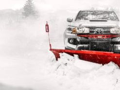 western defender snow plow action shot