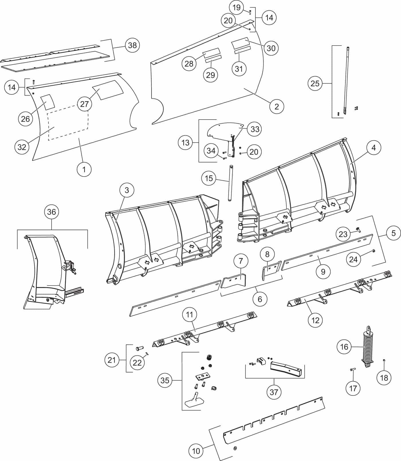 UltraMount MVP 3 Blade Diagram | Western Snow Plow Parts on